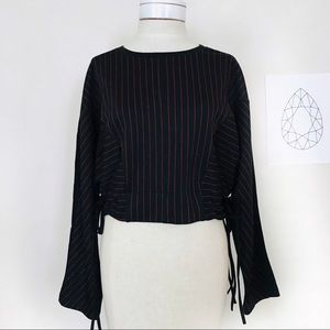Zara Black & Red Stripe Long Sleeve Drawstring Top